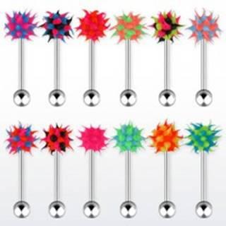 Oceľový piercing do jazyka, viacfarebná silikónová hlavička - ježko - Farba piercing: Čierna - Modrá - Ružová