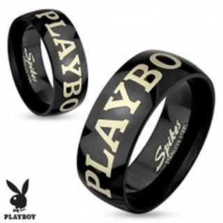 Oceľový prsteň čiernej farby, nápis PLAYBOY v striebornom odtieni, 6 mm - Veľkosť: 49 mm