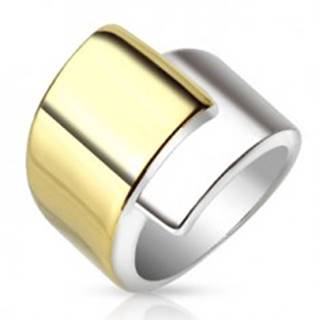 Oceľový prsteň, široké prekrývajúce sa ramená zlatej a striebornej farby - Veľkosť: 52 mm