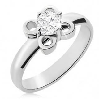 Oceľový prsteň striebornej farby, kvietok s čírym zirkónom - Veľkosť: 49 mm