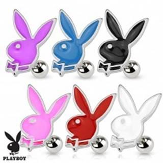 Piercing do tragusu, oceľ 316L, Playboy zajačik zdobený farebnou glazúrou - Farba piercing: Biela