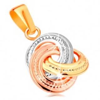 Prívesok zo 14K zlata - trojfarebné prepojené obruče s gravírovaním