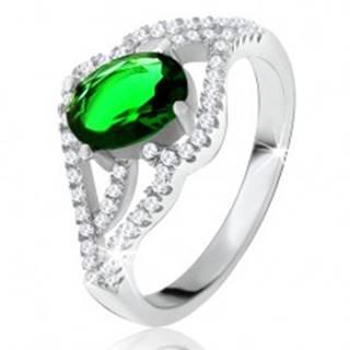 Prsteň s oválnym zeleným kameňom, zvlnené zirkónové ramená, striebro 925 - Veľkosť: 50 mm