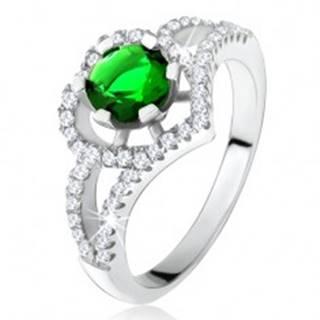 Prsteň s rozdvojenými ramenami, zelený zirkón, obrys srdca, striebro 925 - Veľkosť: 50 mm