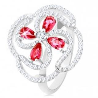 Prsteň, striebro 925, vypuklý kvet z ružových zirkónových kvapiek a čírych línií - Veľkosť: 50 mm