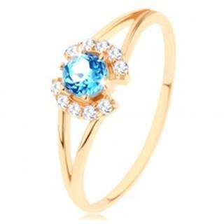 Prsteň v žltom 9K zlate - číre zirkónové oblúčiky, okrúhly modrý topás - Veľkosť: 50 mm