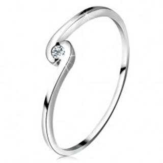 Prsteň z bieleho zlata 14K - okrúhly číry diamant medzi zahnutými ramenami - Veľkosť: 50 mm
