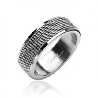 Prsteň z chirurgickej ocele sieťovaný s lesklými okrajmi - Veľkosť: 52 mm
