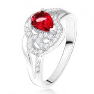 Prsteň zo striebra 925, rubínový slzičkový kameň, zvlnené zirkónové línie - Veľkosť: 49 mm