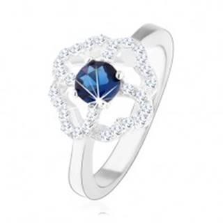 Ródiovaný prsteň zo striebra 925, číry obrys štvorlístka s modrým zirkónom - Veľkosť: 49 mm