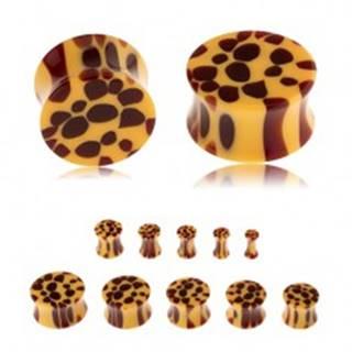 Sedlový plug do ucha z akrylu, žltá farba, hnedé škvrny - leopardí vzor - Hrúbka: 10 mm