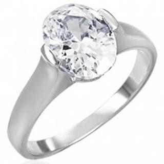 Snubný prsteň s čírym veľkým oválnym zirkónom - Veľkosť: 49 mm