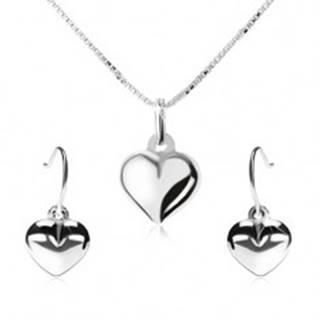 Strieborná 925 sada - náhrdelník a visiace náušnice, vypuklé srdce