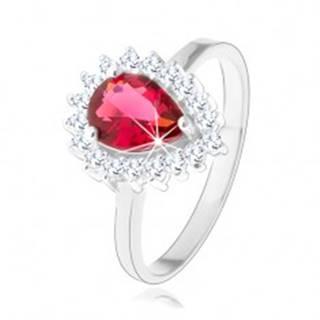 Strieborný 925 prsteň, červená zirkónová slza, číry trblietavý lem - Veľkosť: 48 mm