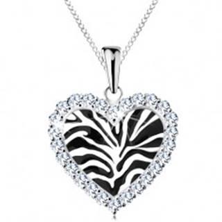 Strieborný náhrdelník 925, srdiečko s čiernym motívom zebry a čírymi zirkónikmi