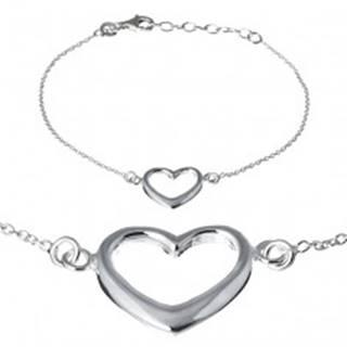 Strieborný náramok 925 - široká silueta srdca na retiazke
