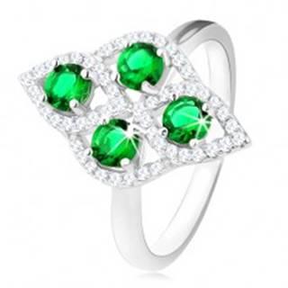Strieborný prsteň 925, oblý kosoštvorec, štyri okrúhle zelené zirkóny, číry lem - Veľkosť: 49 mm