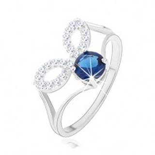 Strieborný prsteň 925, rozdelené ramená, číre obrysy zrniek, tmavomodrý zirkón - Veľkosť: 48 mm
