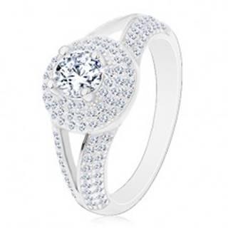 Strieborný prsteň 925 - zásnubný, rozdelené ramená, žiarivý kruh so zirkónom - Veľkosť: 50 mm