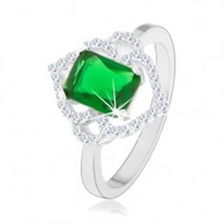 Strieborný prsteň 925, zelený obdĺžnikový zirkón, číre obrysy lístkov, oblúčiky - Veľkosť: 49 mm