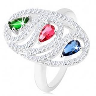 Strieborný prsteň 925, zirkónová oválna kontúra, farebné brúsené kvapky - Veľkosť: 49 mm