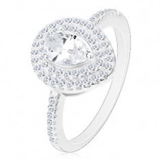 Strieborný zásnubný prsteň 925, číra brúsená kvapka v dvojitej kontúre - Veľkosť: 49 mm