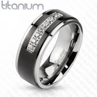 Titánový prsteň striebornej farby, čierny pás, lesklé okraje, línia čírych zirkónov - Veľkosť: 60 mm