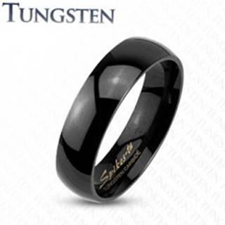 Wolfrámový prsteň v čiernom odtieni, zrkadlovolesklý hladký povrch, 4 mm - Veľkosť: 47 mm