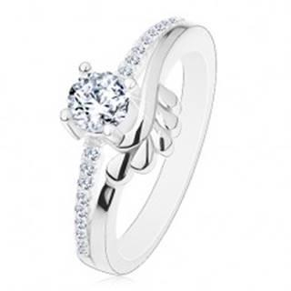 Zásnubný prsteň, striebro 925, číry zirkón a trblietavé ramená, lístočky - Veľkosť: 49 mm
