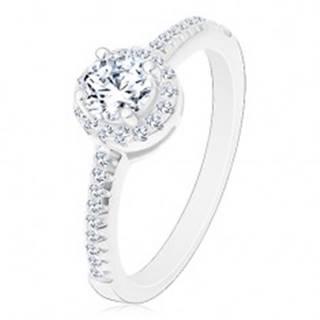 Zásnubný prsteň - striebro 925, žiarivý okrúhly zirkón čírej farby v trblietavom kruhu - Veľkosť: 50 mm