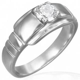 Zásnubný prsteň z chirurgickej ocele s očkom na širšom podklade - Veľkosť: 49 mm