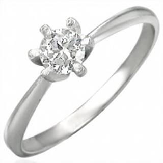 Zásnubný prsteň z ocele 316L s čírym zirkónom, lesklé ramená - Veľkosť: 48 mm