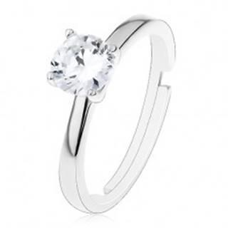 Zásnubný prsteň zo striebra 925 - nastaviteľný, vyvýšený okrúhly zirkón čírej farby - Veľkosť: 49 mm