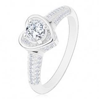 Zásnubný prsteň zo striebra 925, srdiečko s čírym zirkónom, trblietavé ramená - Veľkosť: 49 mm