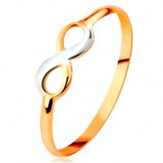 Zlatý prsteň 585 - dvojfarebný lesklý symbol nekonečna, úzke hladké ramená - Veľkosť: 50 mm