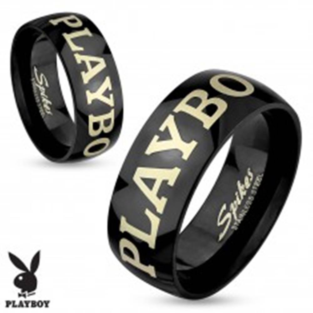 Šperky eshop Čierna obrúčka z chirurgickej ocele, nápis PLAYBOY striebornej farby, 8 mm - Veľkosť: 60 mm