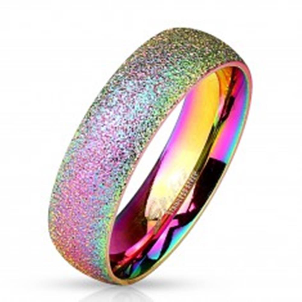 Šperky eshop Dúhový prsteň z ocele 316L s trblietavým povrchom, 6 mm - Veľkosť: 49 mm