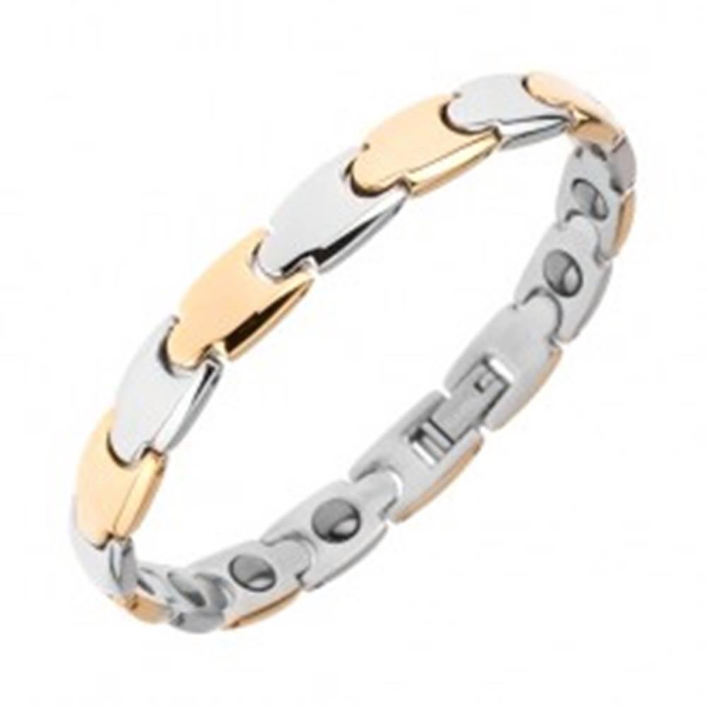 """Šperky eshop Dvojfarebný oceľový náramok, lesklý povrch, """"Y"""" články, magnety"""