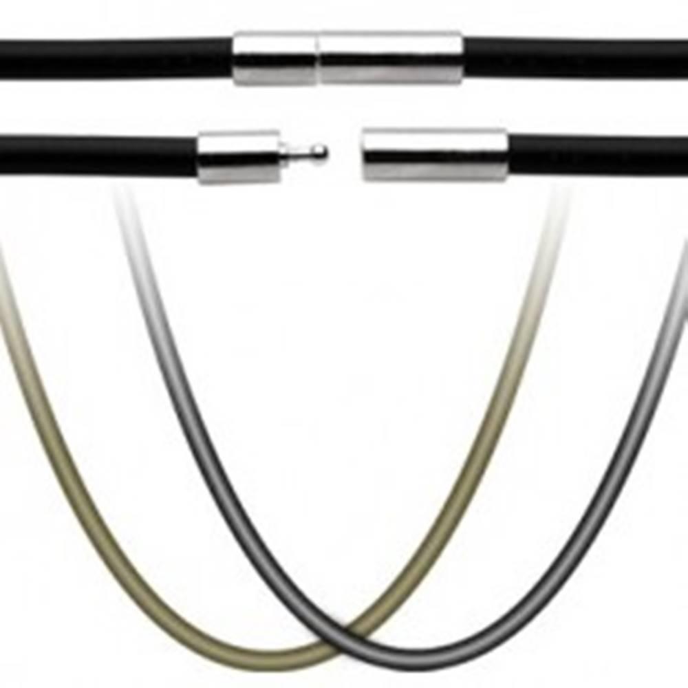 Šperky eshop Gumená šnúrka na prívesok - uzáver z chirurgickej ocele - Dĺžka: 444 mm, Farba: Čierna