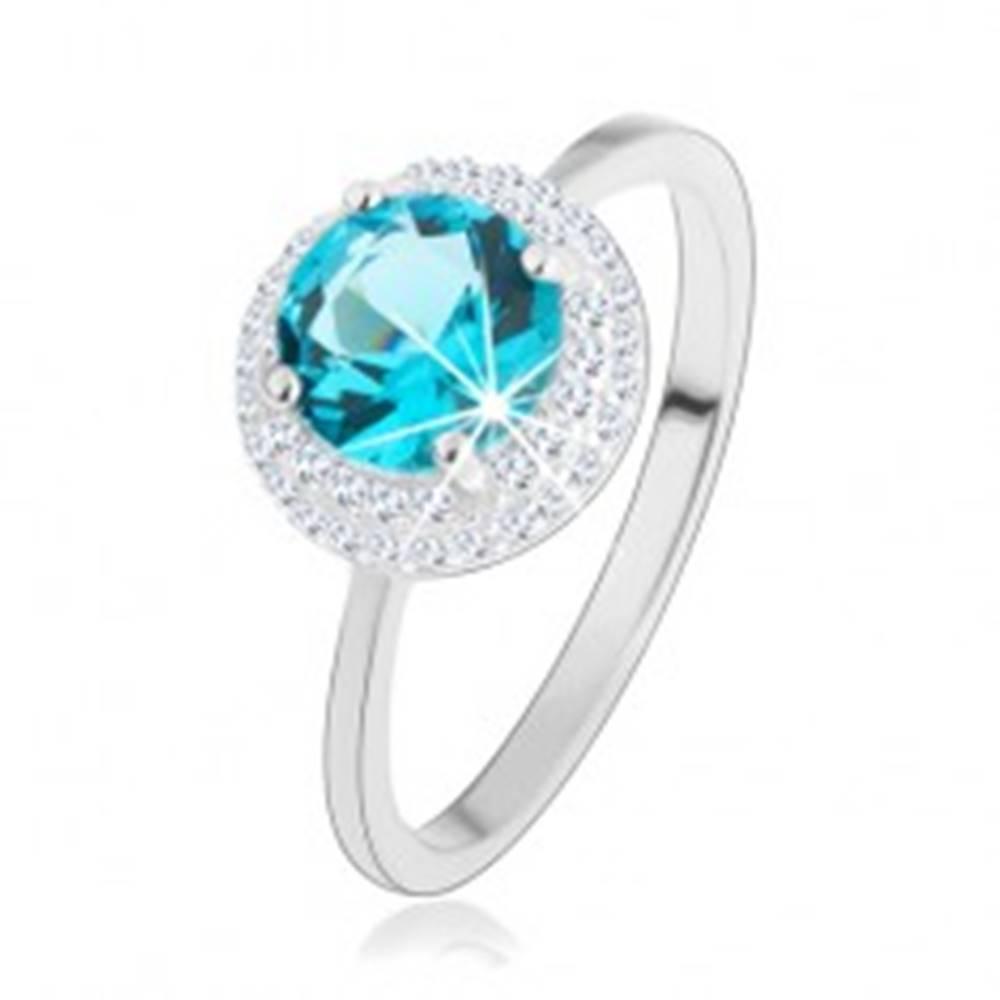 Šperky eshop Ligotavý prsteň, striebro 925, okrúhly zirkón akvamarínovej farby, číry lem - Veľkosť: 46 mm