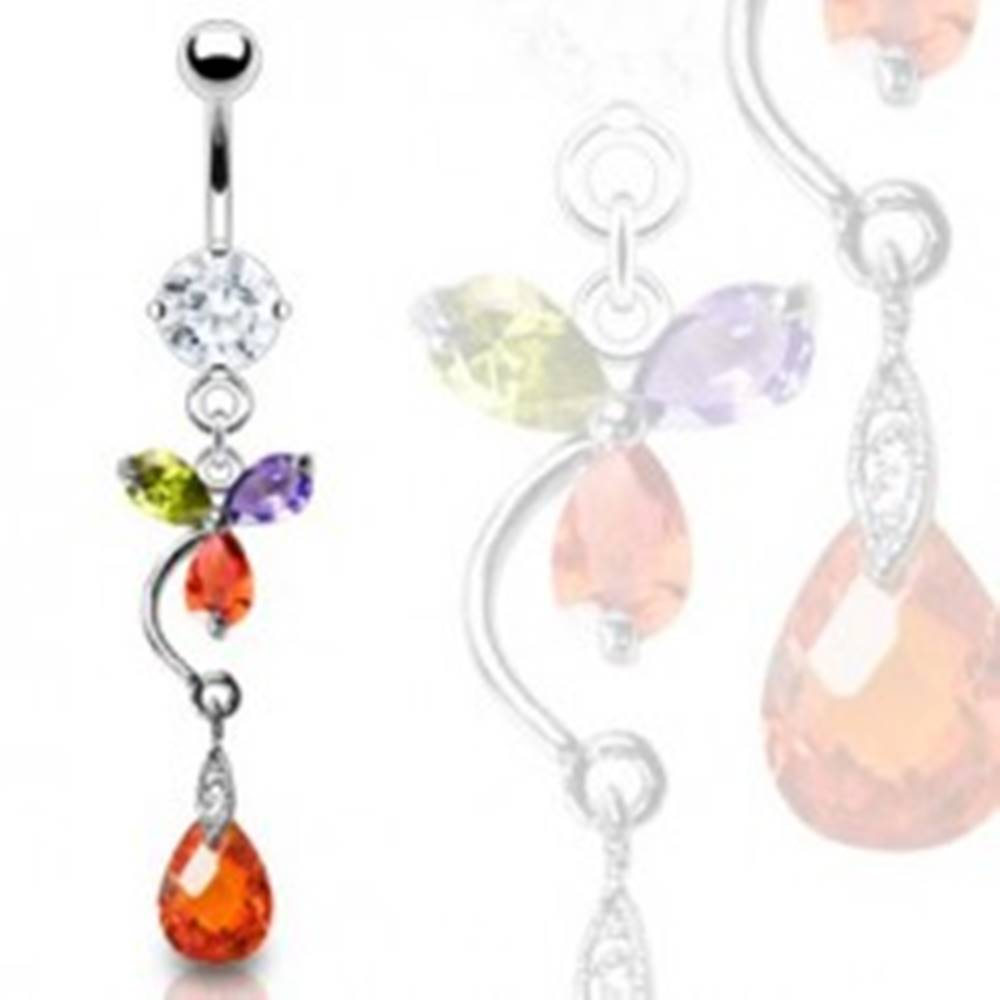 Šperky eshop Luxusný piercing brucha farebný kvet a červená kvapka
