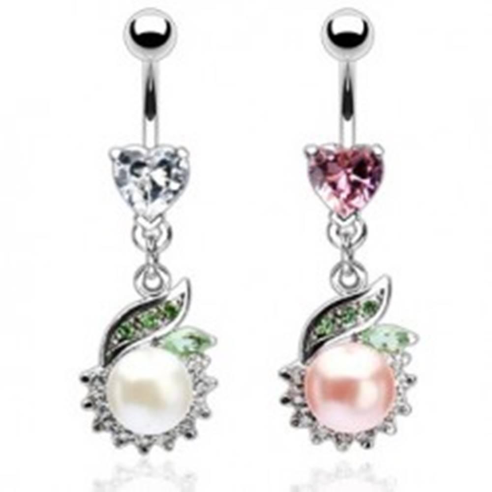 Šperky eshop Luxusný piercing brucha perla so zeleným lístkom - Farba zirkónu: Číra - C
