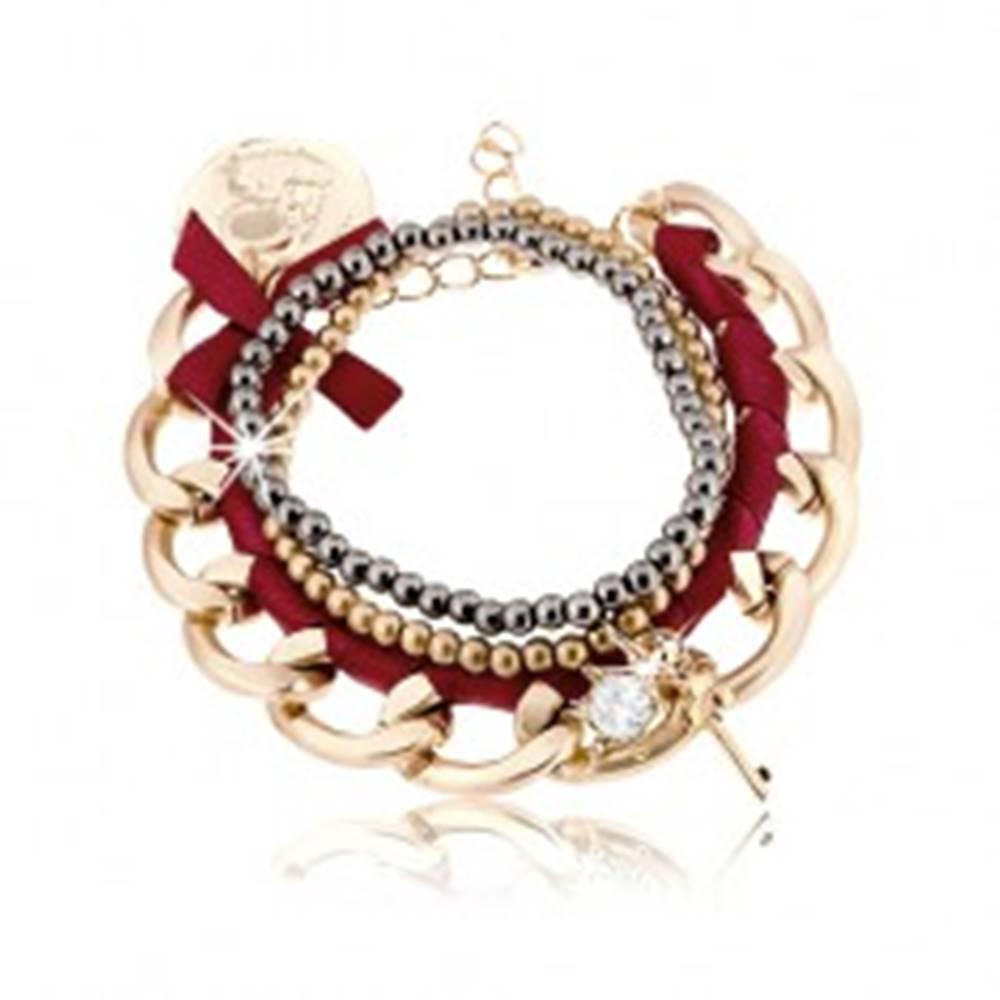 Šperky eshop Multináramok, hrubá retiazka s bordovou stužkou, korálky, prívesky