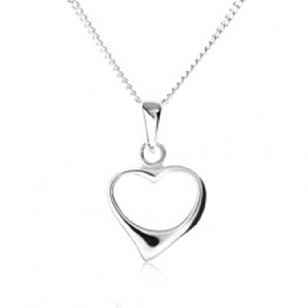 Šperky eshop Náhrdelník zo striebra 925, retiazka a špicatý obrys nesúmerného srdca