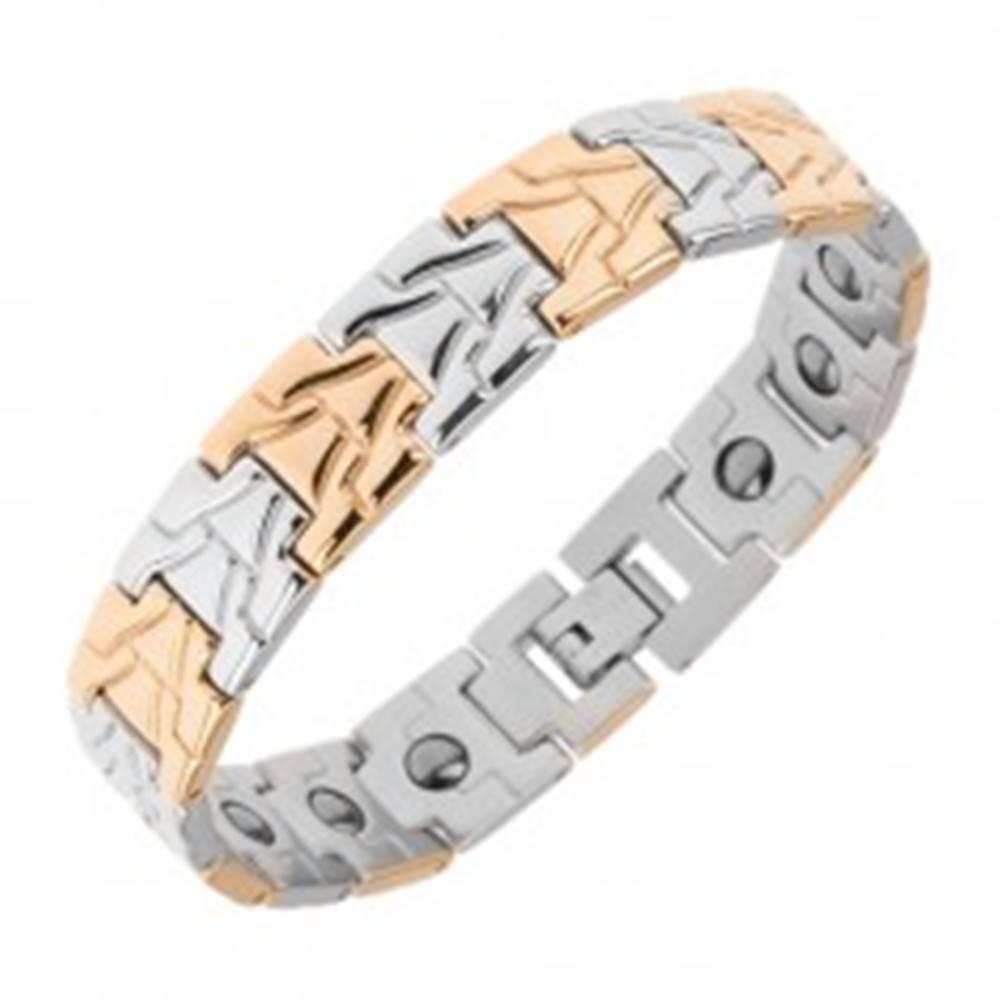 Šperky eshop Náramok z chirurgickej ocele, lesklé články, magnety, strieborná a zlatá farba