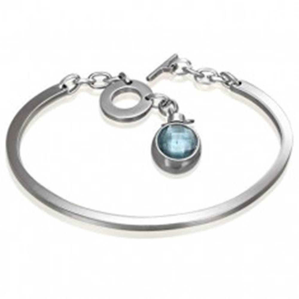 Šperky eshop Náramok z chirurgickej ocele, neúplný ovál s visiacim modrým zirkónom
