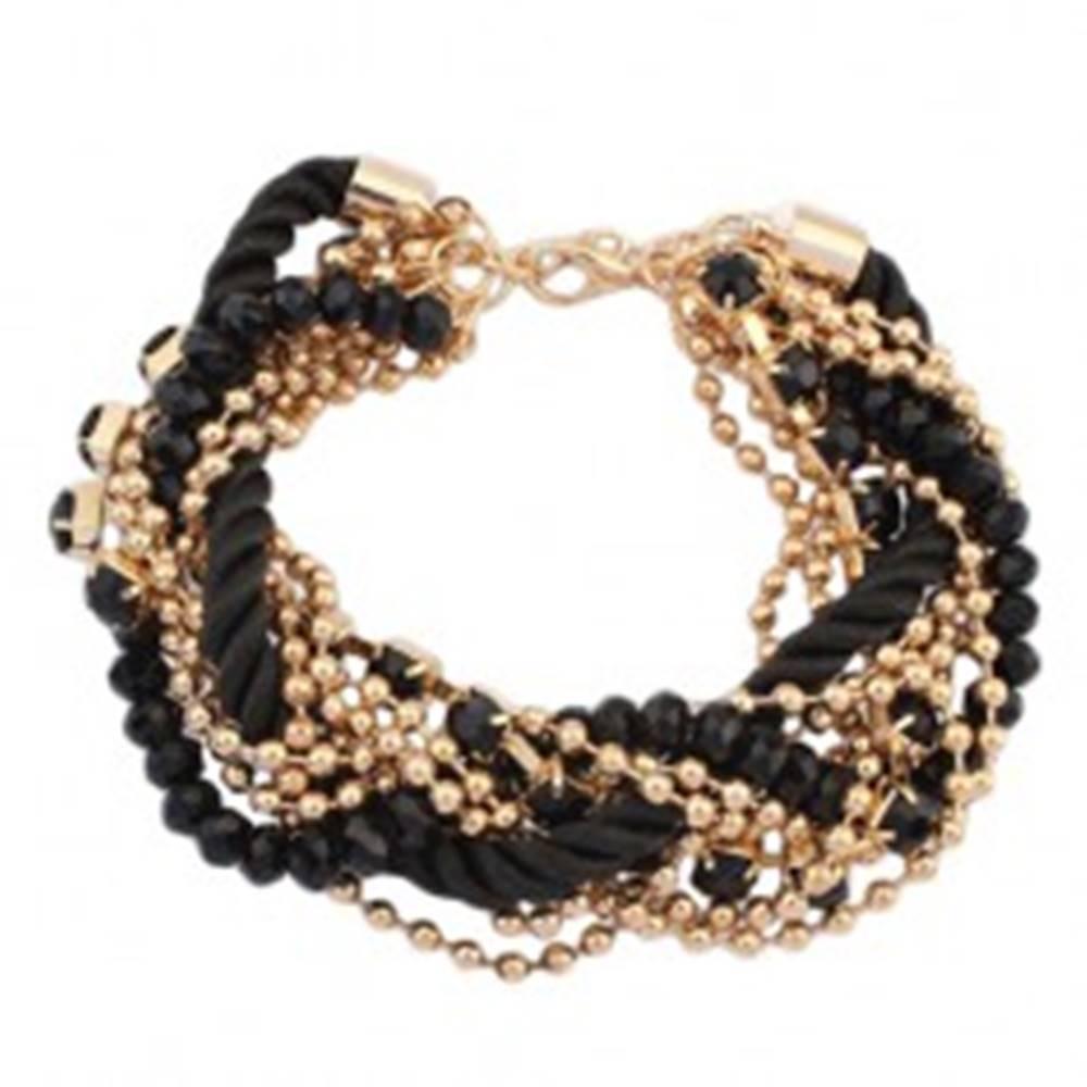 Šperky eshop Náramok - zatočená čierna špirála zo šnúrok, retiazky zlatej farby, korálky