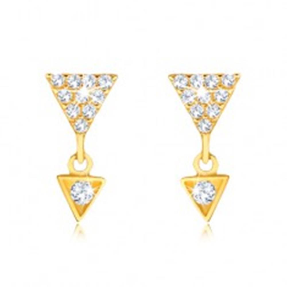 Šperky eshop Náušnice v žltom 9K zlate - väčší a menší zirkónový trojuholník
