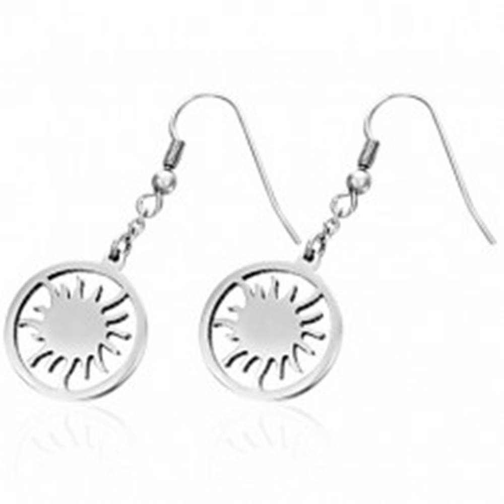 Šperky eshop Náušnice z chirurgickej ocele so slniečkom v kruhu