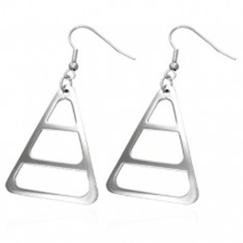 Šperky eshop Náušnice z chirurgickej ocele, strieborná farba, zaoblený trojuholník